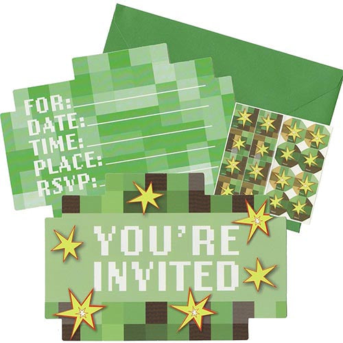 minecraft tnt party supplies invitation cards