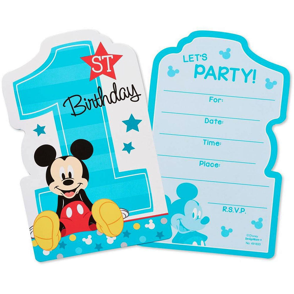 Mickey Mouse Party Supplies 1st Birthday Invitation Cards