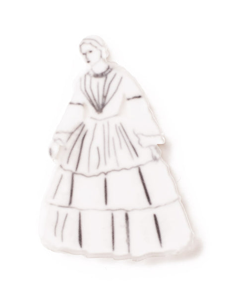 Acrylic Woman in White Brooch Ghost Brooch