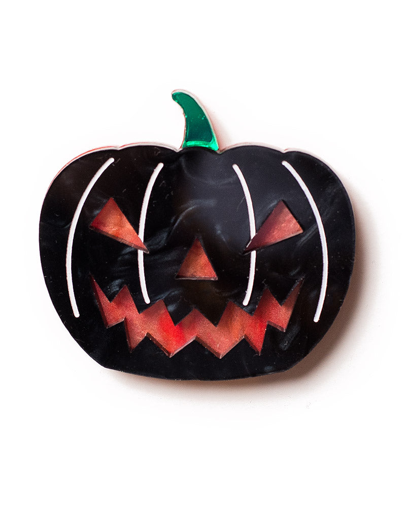 Acrylic Halloween Black Pumpkin Brooch