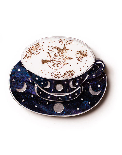 Acrylic Tea Cup Brooch Witch Tea Leaves Tea Reading