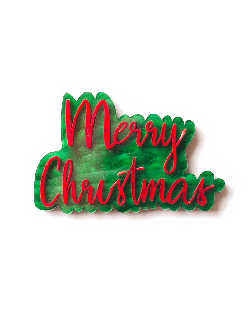 Merry Christmas Acrylic Text Brooch