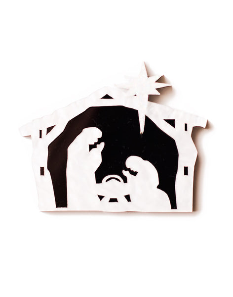 Dinosaur Nativity Christmas Brooch