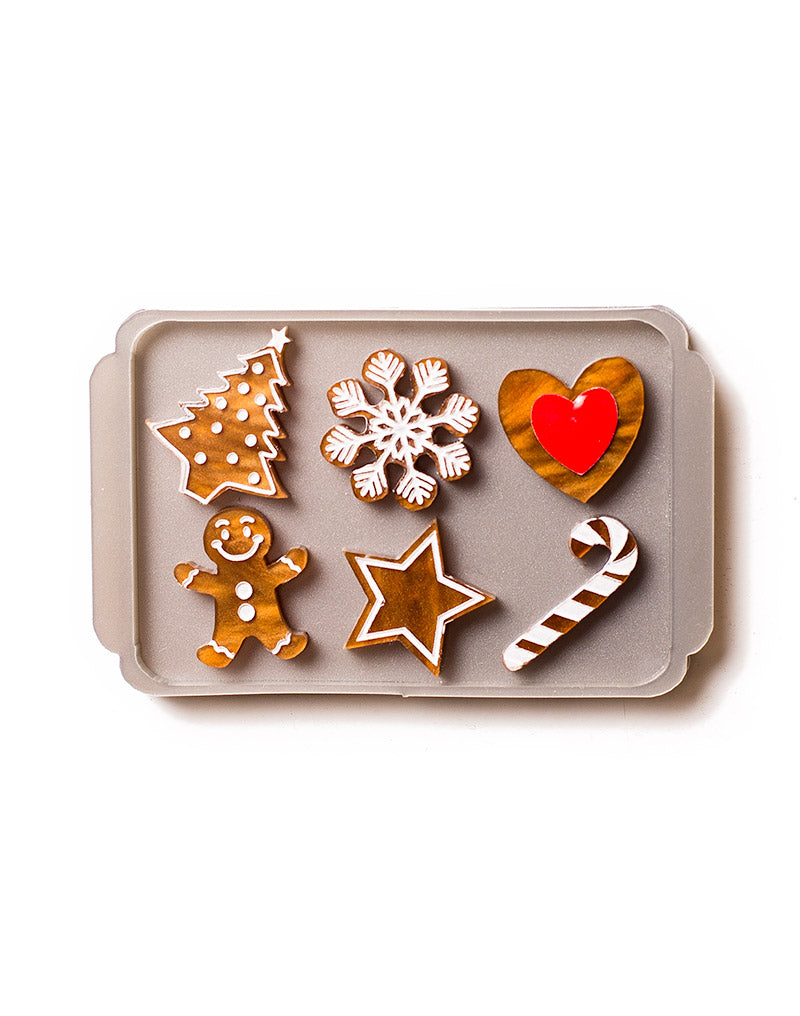 Acrylic Mixed Gingerbread Tray Brooch
