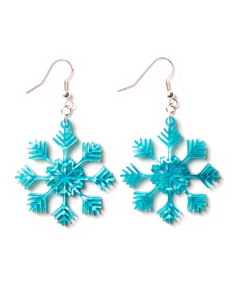 Christmas Earrings - Blue Snowflake Earrings