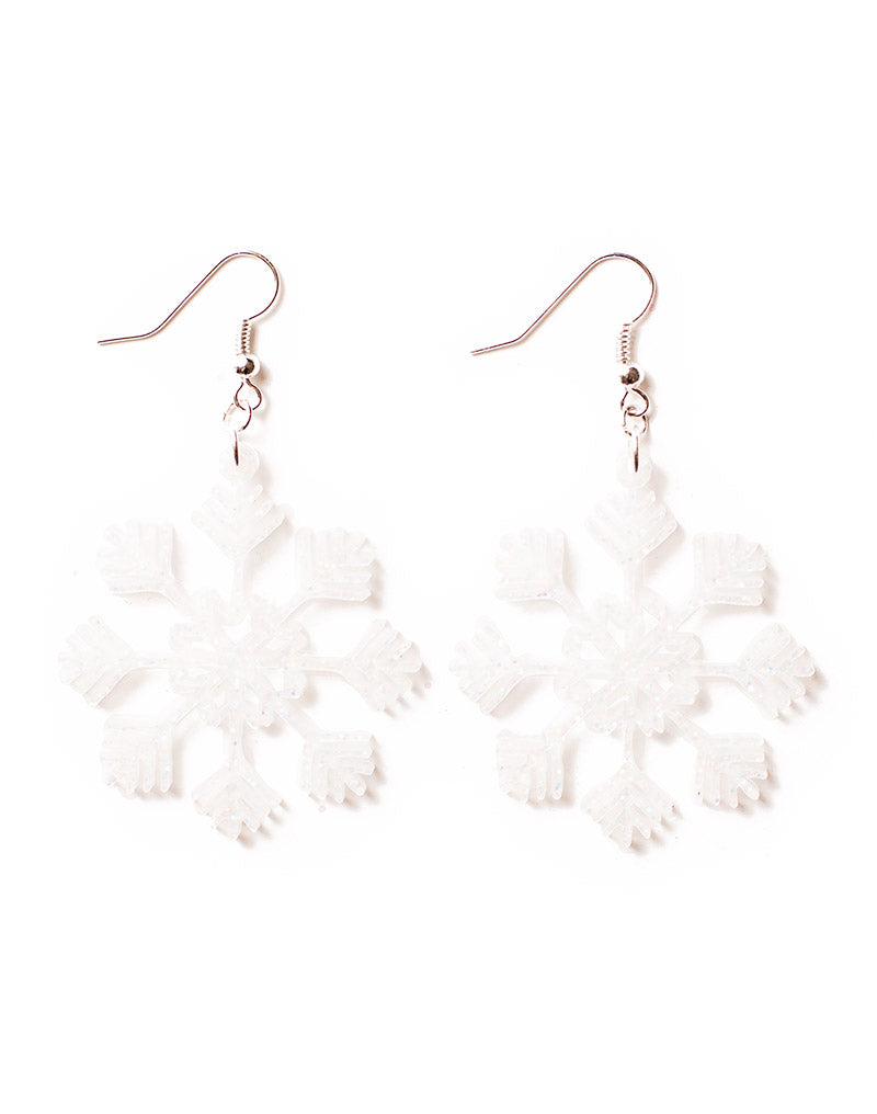 White Acrylic Glitter Snowflake Earrings