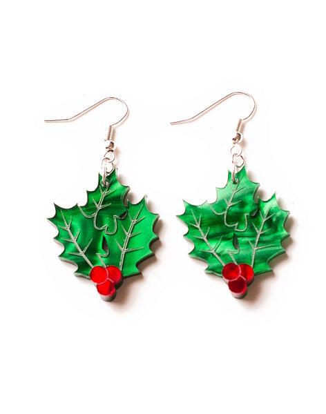Acrylic Holly Berry Earrings