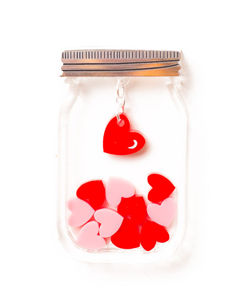 Acrylic Love Heart Jar Brooch