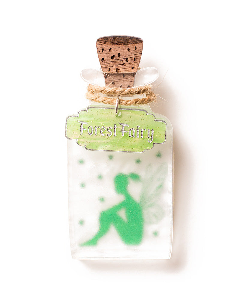 Fairy Jar Green Forest Fairy Acrylic Brooch