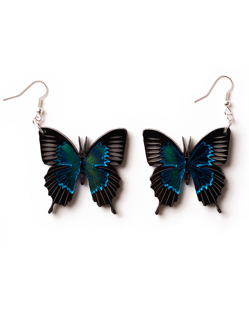 Ulysses Butterfly Earrings - Blue Mirror