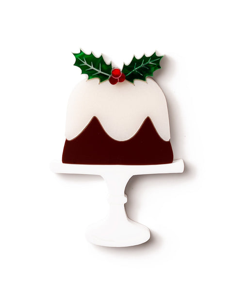 Acrylic Christmas Plum Pudding Brooch