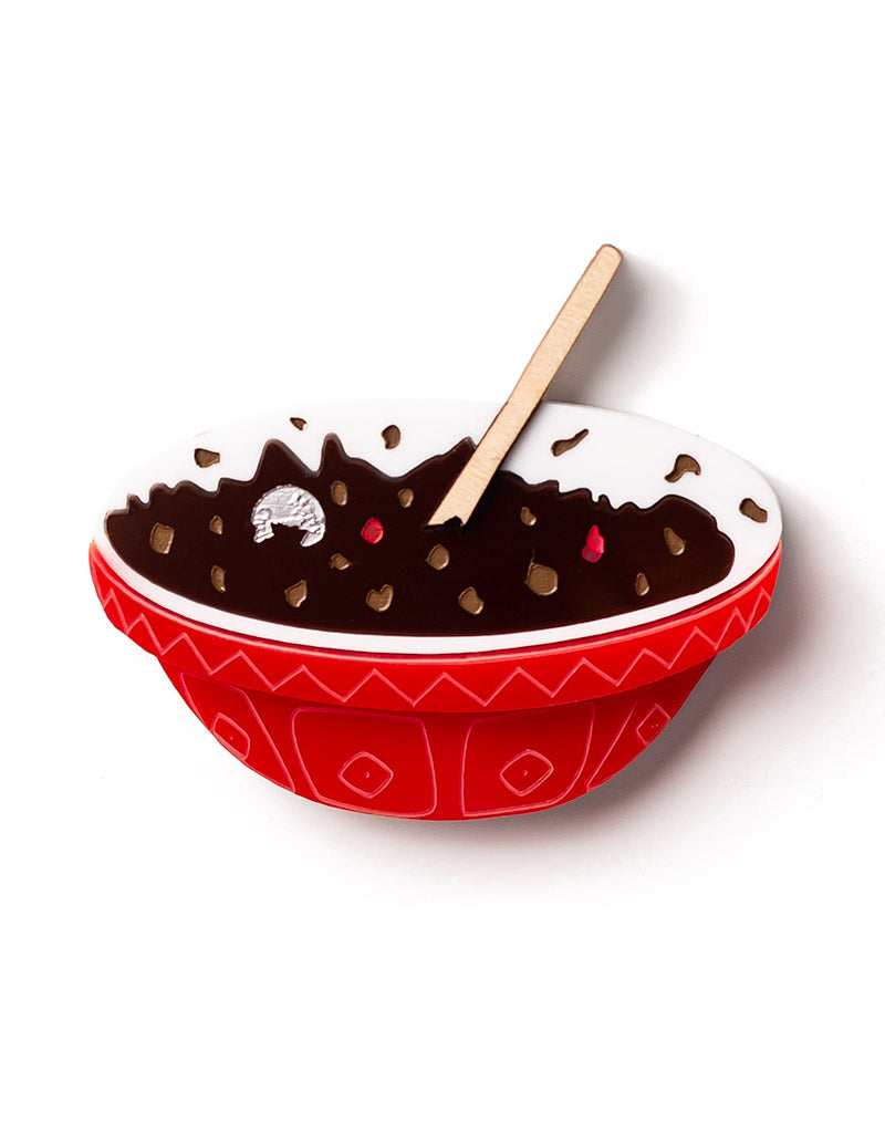 Acrylic Christmas Pudding Mixing Bowl Brooch