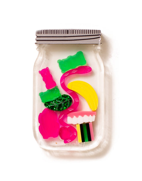 Miniature acrylic party mix lolly jar brooch