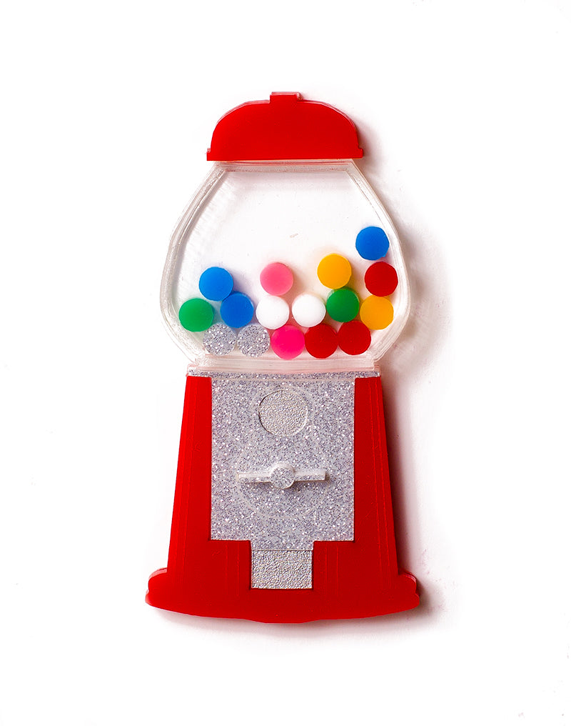 Red acrylic gumball machine brooch