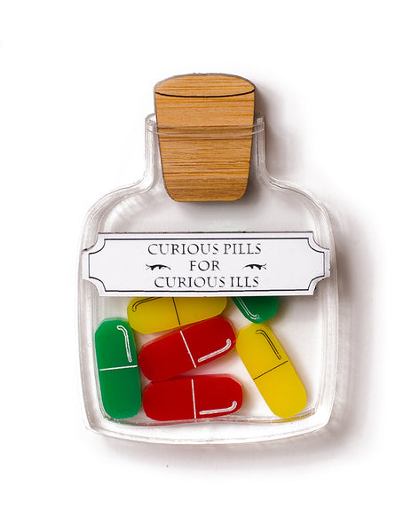 Pill Bottle - Curious Pills Brooch Red Green Yellow
