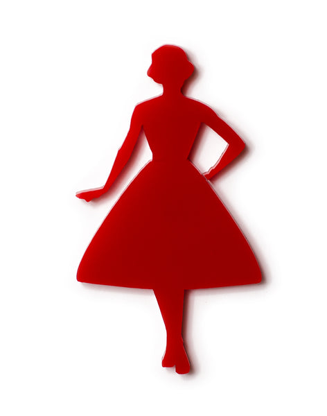 Vintage Lady Swing Silhouette Red