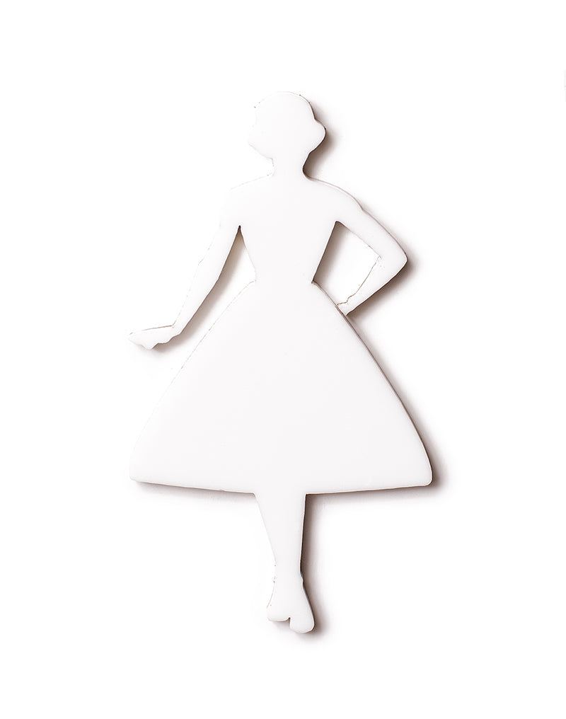 Vintage Lady Swing Silhouette White
