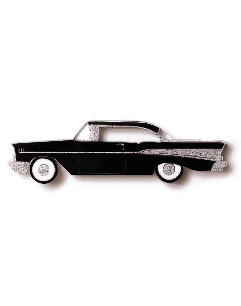 Black Acrylic 57 Chevy Brooch