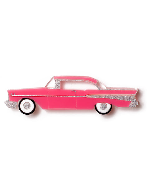 Pink Acrylic 57 Chevy Brooch