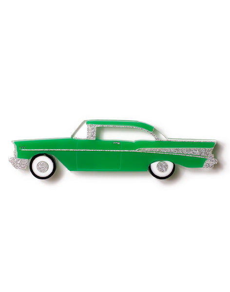 Green Acrylic 57 Chevy Brooch