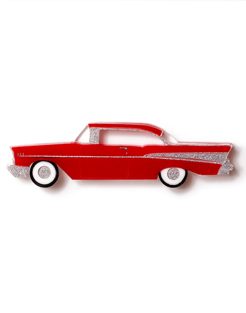 Red Acrylic 57 Chevy Brooch