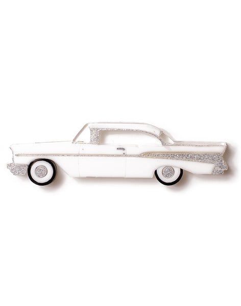 White Acrylic 57 Chevy Brooch