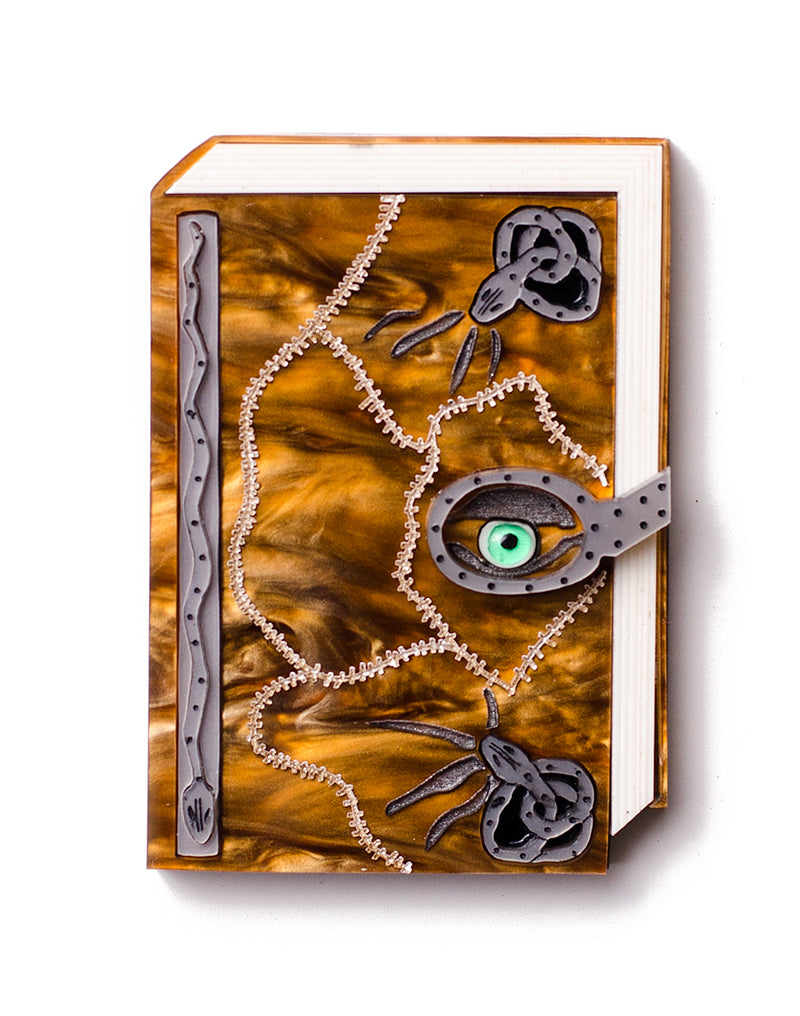 Spell Book Brooch snakes & eyeball Hocus Pocus