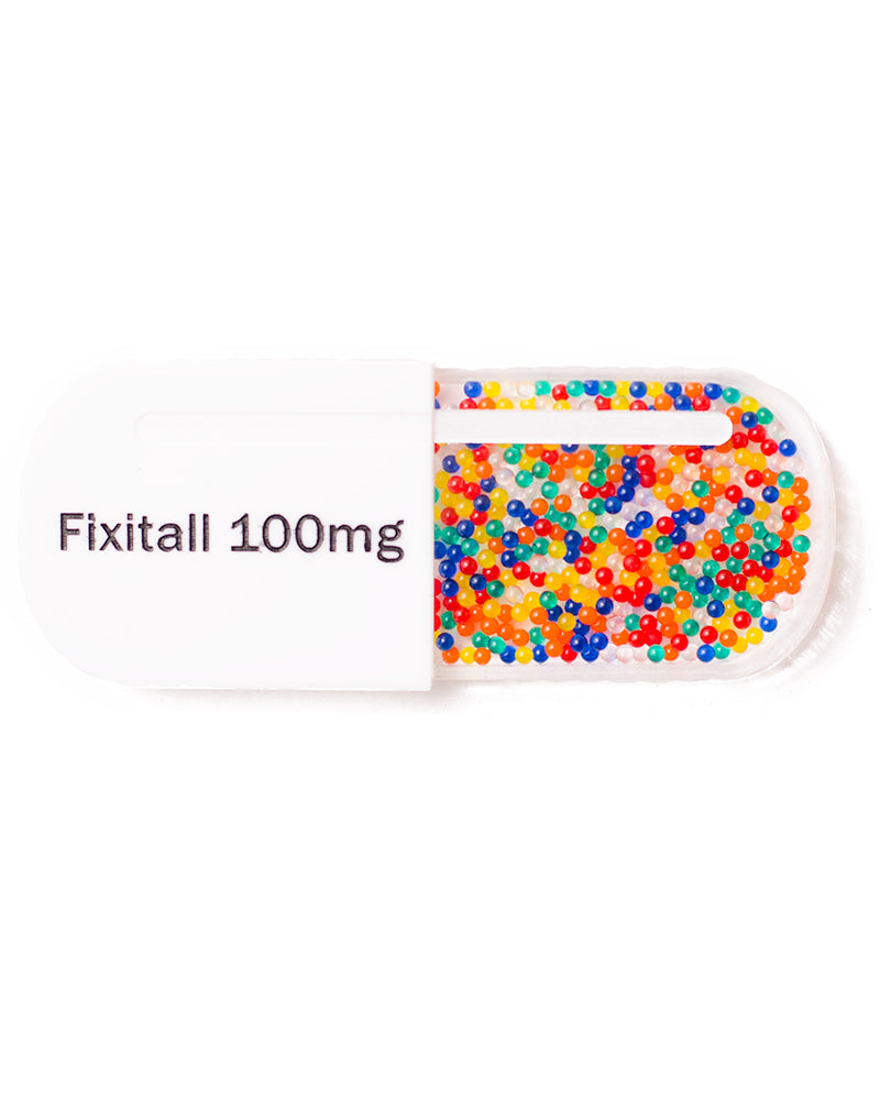Fixitall Giant Pill Brooch. Novelty Brooch. Big Pill. Acrylic Medicine Brooch