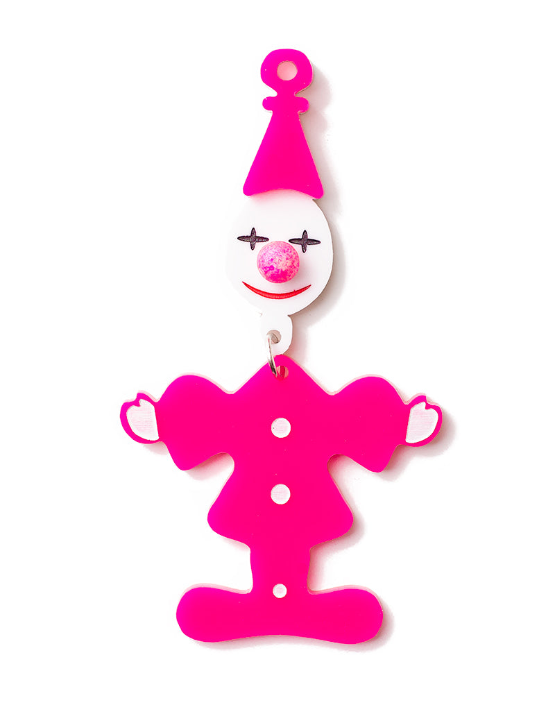 80's Retro Clown Brooch - Hot Pink
