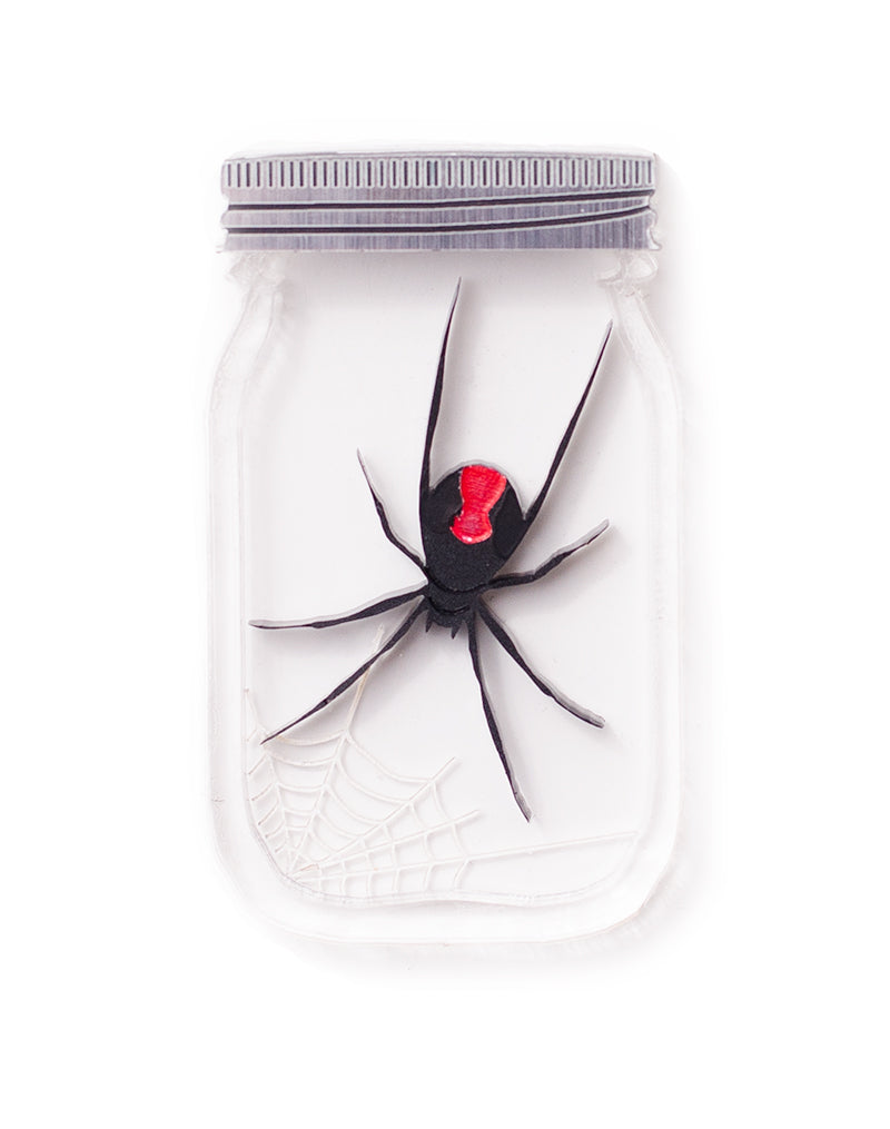 Red Back Spider Acrylic Jar Brooch Halloween