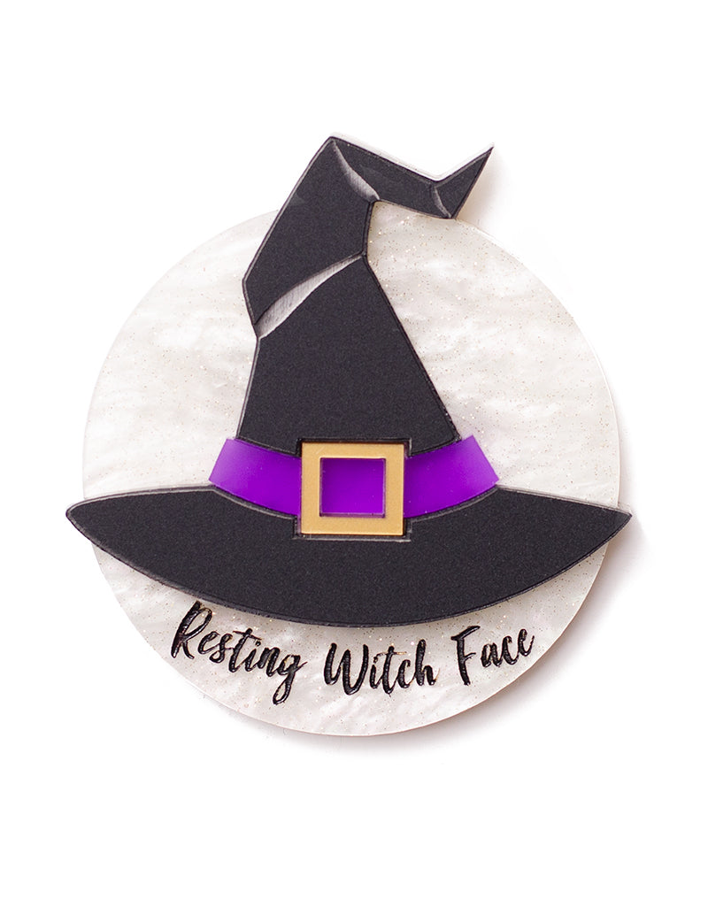 Resting Witch Face Acrylic Brooch Halloween Witch Hat