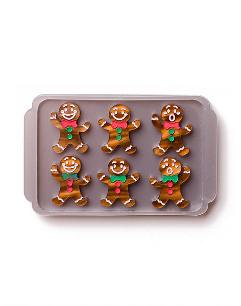 gingerbread men tray acrylic christmas brooch