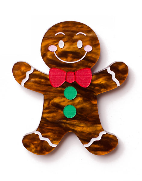 christmas gingerbread man acrylic brooch