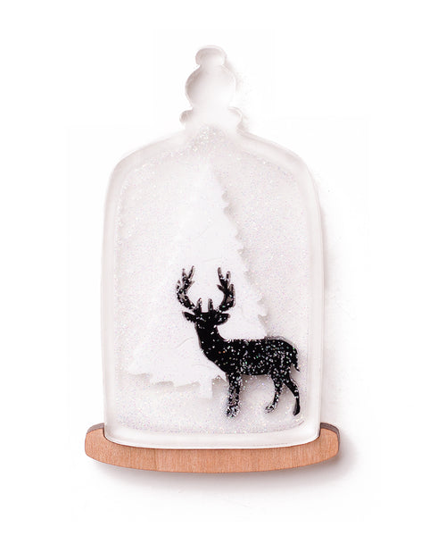 wild deer christmas bell jar snow acrylic brooch