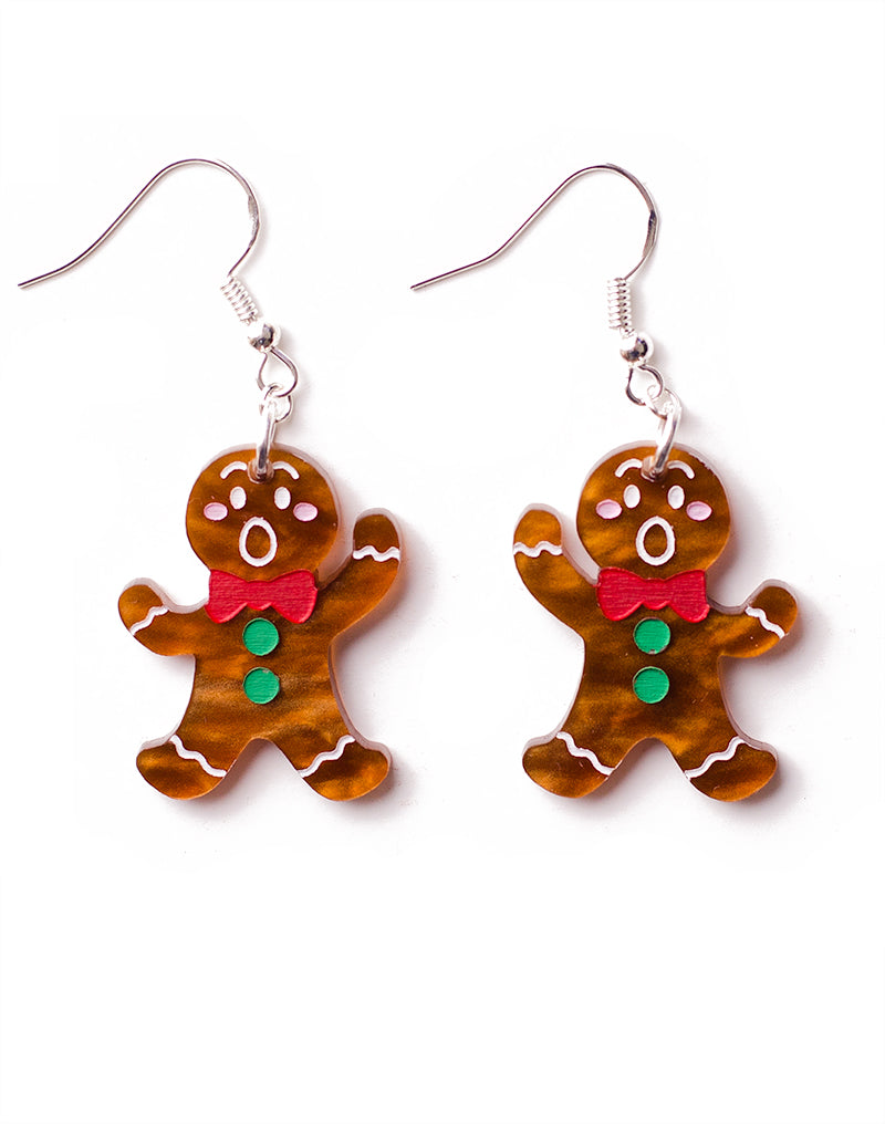 christmas gingerbread men shepherd hook earrings acrylic