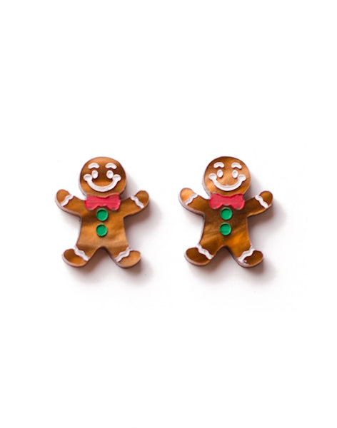 christmas gingerbread men stud earrings acrylic