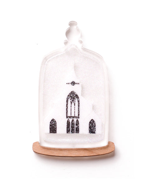 Christmas Bell Jar acrylic brooch trinity church snow