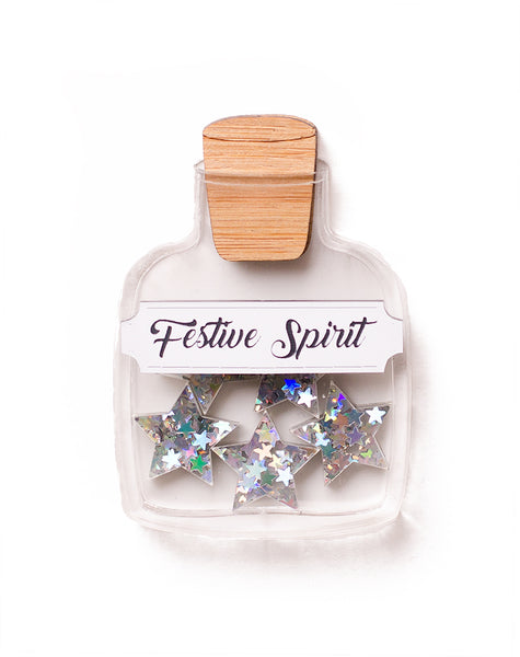Festive Spirit acrylic star jar brooch