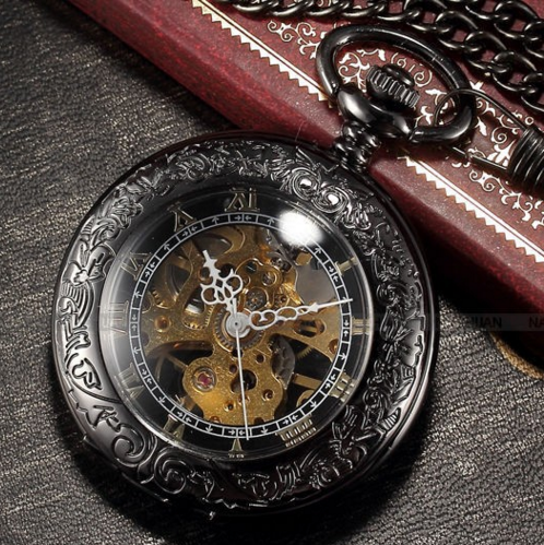 vintage skeleton pocket watch with case mechanical movement the