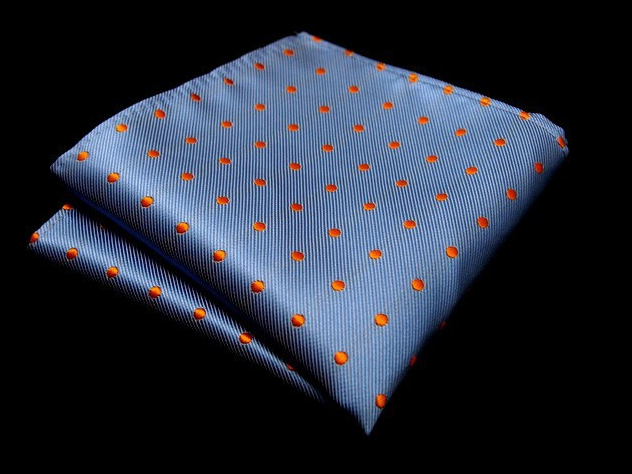 c9a97fadeca5a ... Orange Dots on Baby Blue Pocket Square - The Gentleman Shoppe   Fashion  Accessories for the ...