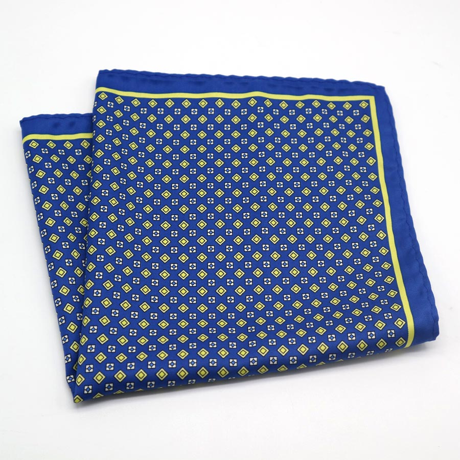 1b6c25347aa7f Blue and Yellow Pocket Square with Yellow Squares - The Gentleman Shoppe