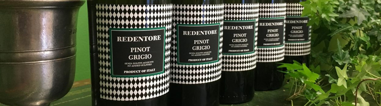 Pinot Grigio with no sulfites added: Redentore brand from Venice, Italy