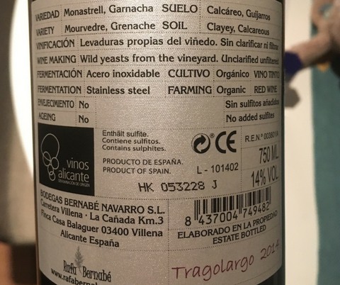 Tragolargo 2014 back label