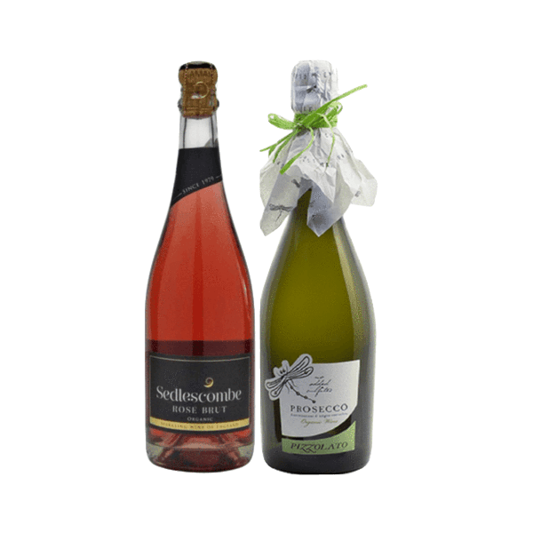 Organic Sparkling Wine Gift | English Sparkling Rose | Italian Prosecco