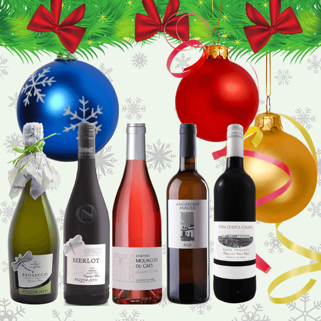 Festive Season's Wines | Party Case of 12 Assorted Organic Wines | Almost Zero Sulphites Added & Vegan Friendly