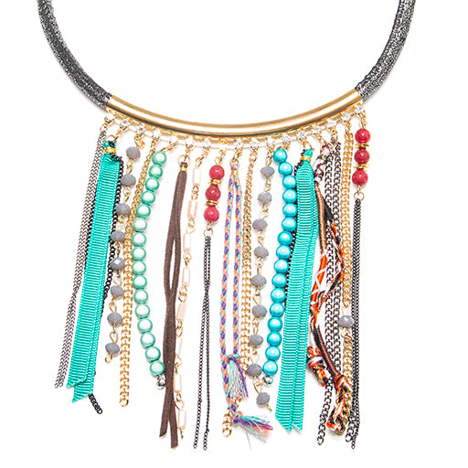 Tassel Necklace Disco Beads