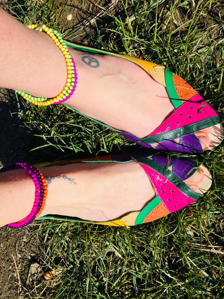 Tutti Frutti Shoes with 3 anklets