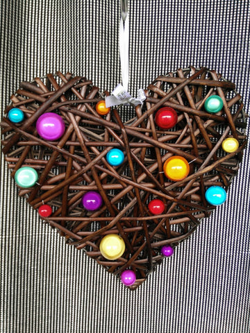 Disco Beads Wicker Hearts