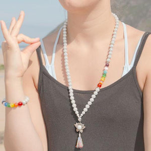 Mala Inspired Necklace - Mindfulness- Disco Beads