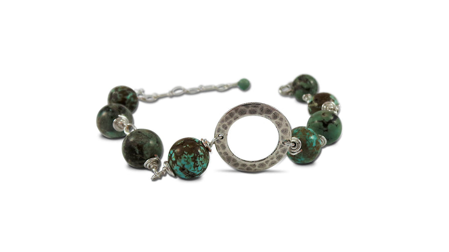 AAfrican Turquoise Bracelet Silver plated bracelet with African gemstones and silver plated ring